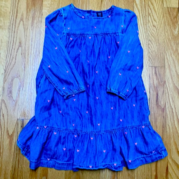 Jean dress with pink hearts size 5